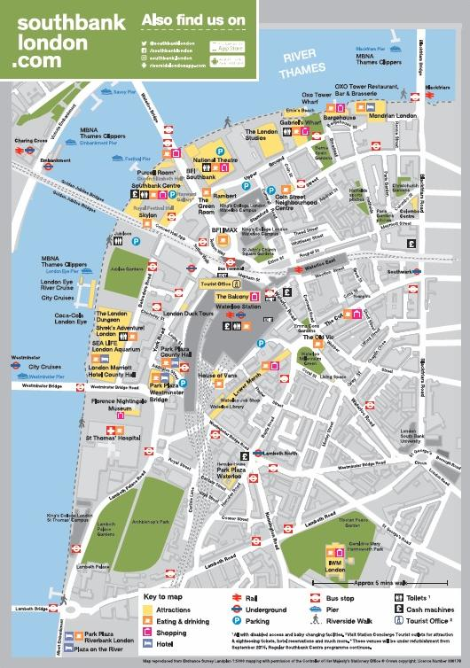 London Tourist Information Map.Visitor Information Wayfinding South Bank Employers Group